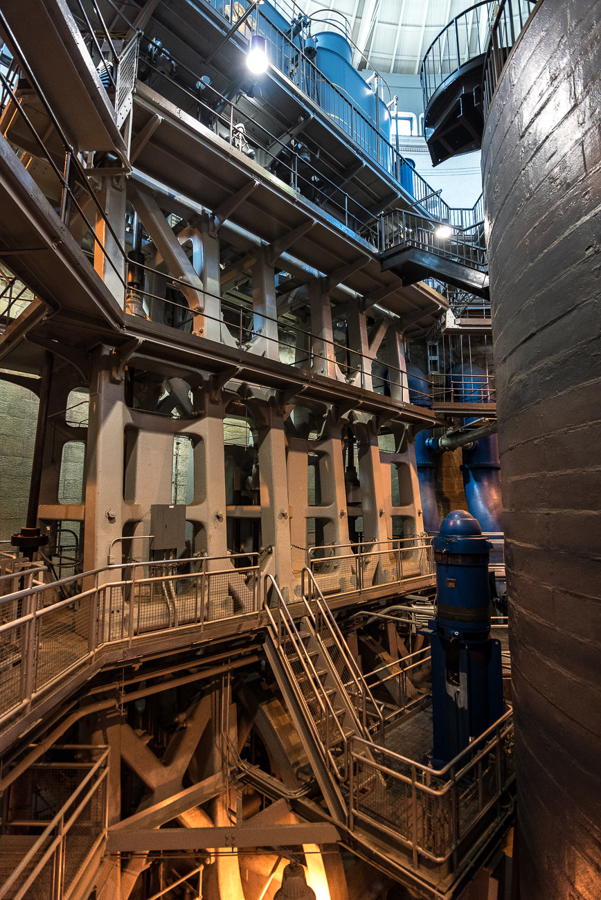 Deep into the Cincinnati Water Works campus on Kellogg Avenue, the underground facility of Cincinnati Triple Steam (which opened in 1906) includes four 1,400-ton, 104-foot triple expansion crank and flywheel steam engines. The facility pumped the city's water for 57 years until 1963. It's run with electric pumps today. / Image: Phil Armstrong, Cincinnati Refined // Published: 6.14.18