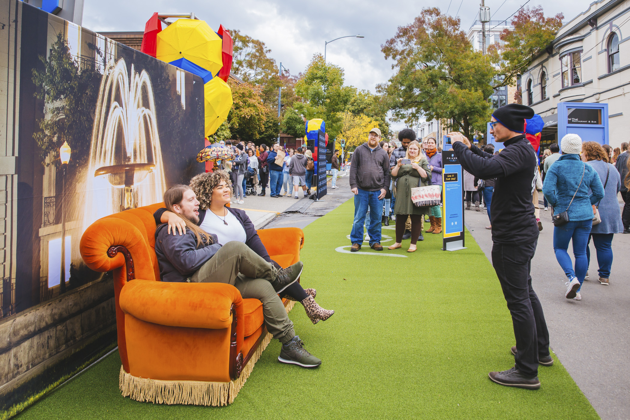 "The At&T Lounge in Capitol Hill was completely transformed into the iconic Central Perk Cafe on Sunday, Sept. 29 , 2019. Central Perk was the backdrop for the mega-hit series ""Friends"", which is celebrating it's 25th anniversary this year. The pop-up was free all day to patrons, who came to see the famous orange couch, Phoebe's Yellow Cab Escape Room, 'Friends' trivia and more. Even cooler? The Rembrandts were on-hand to perform their famous theme song ""I'll Be There For You"", along with other Friends-themed songs and a special appearance by James Michael Tyler, aka Gunther. (Image: Sunita Martini / Seattle Refined){ }"