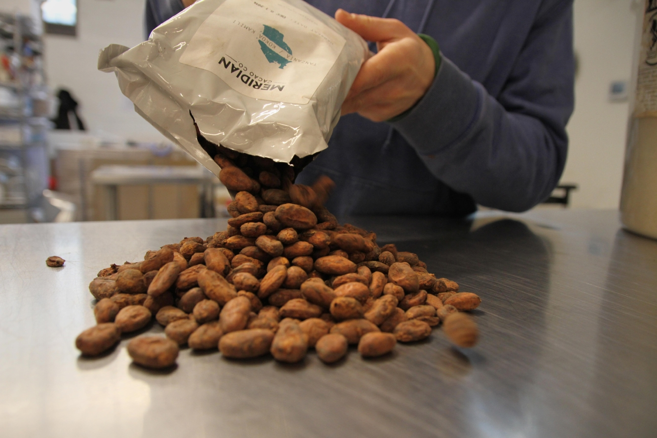 Undone Chocolate uses sustainably sourced cacao beans from around the globe, each of which have a different flavor profile. The company makes all of their chocolate products from the bean at the Union Kitchen facility. (Image: Amanda Andrade-Rhoades/ DC Refined)