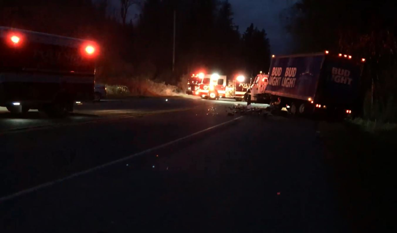 A three-vehicle fatality crash closed state Route 3 north of Poulsbo on Tuesday, March 13, 2018. (Photo: Poulsbo Fire Department)<p></p>