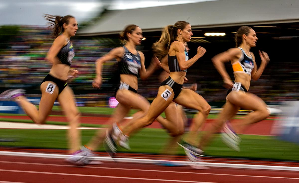 Nike Bowerman TC's Shelby Houlihan competes in the 5,000 meters final. Houlihan finished second with a time of 15:06.14 and punched her ticket to Rio in the process. Photo by August Frank, Oregon News Lab