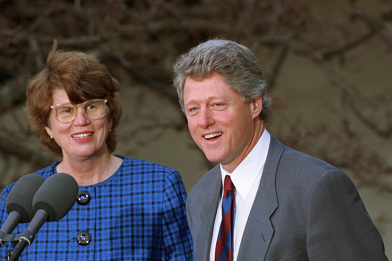 FILE - In this Feb. 12, 1993 file photo, U.S. President Bill Clinton names Janet Reno the nation's first female attorney general at a ceremony in the Rose Garden at the White House in Washington. Reno, the first woman to serve as U.S. attorney general and the epicenter of several political storms during the Clinton administration, has died early Monday, Nov. 7, 2016. She was 78. (AP Photo/Doug Mills, File)