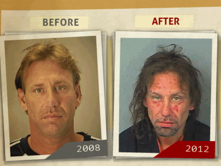 Side-by-side 2008 and 2012 photo taken of man  who reportedly had a 'manufacture of Methamphetamine or Mixture' charge. (Photo, info from rehabs.com/)