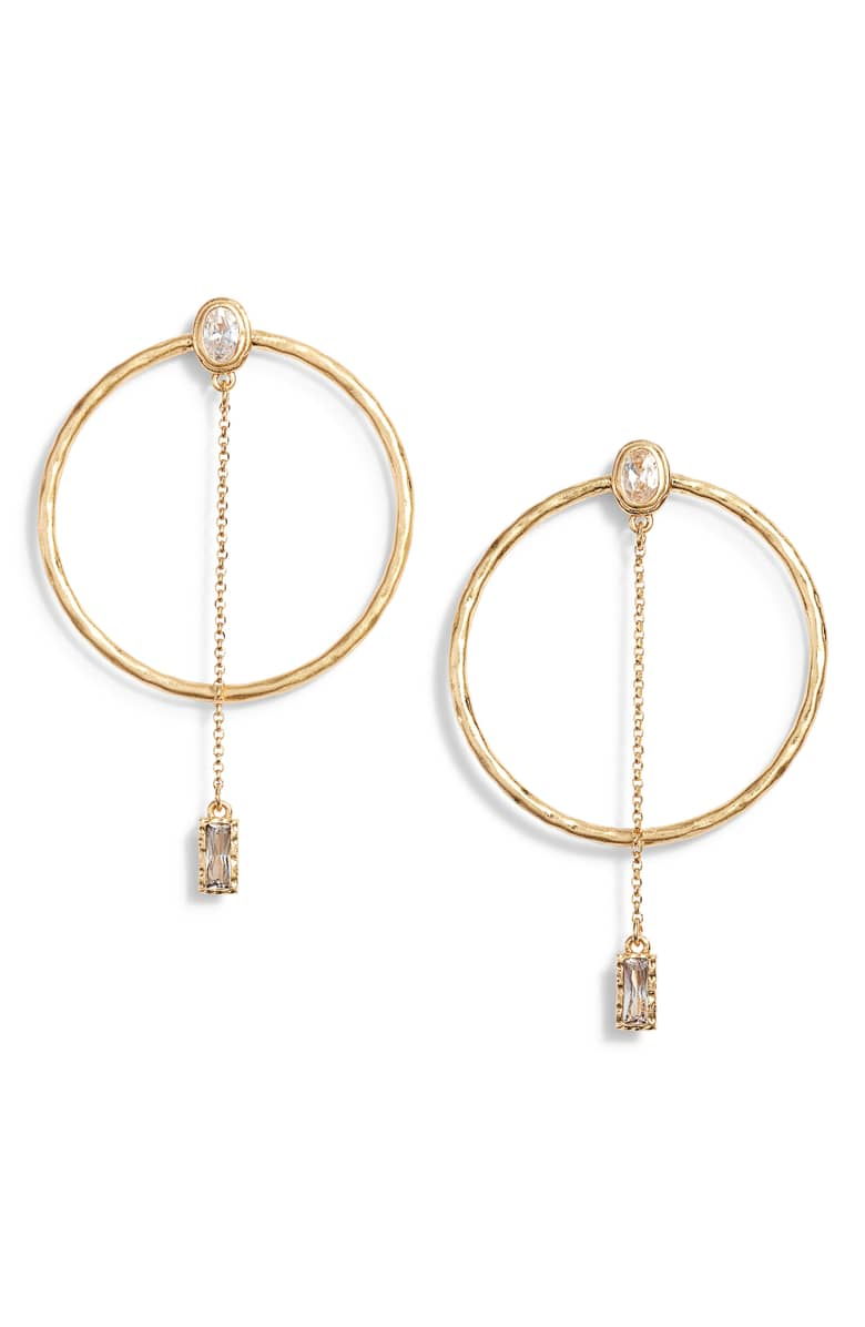 kate spade elegant edge stone hoop earrings, $68.{ }Ballin' on a budget this season? Nordstrom found priceless gifts all under $100. You're welcome! (Image courtesy of Nordstrom).
