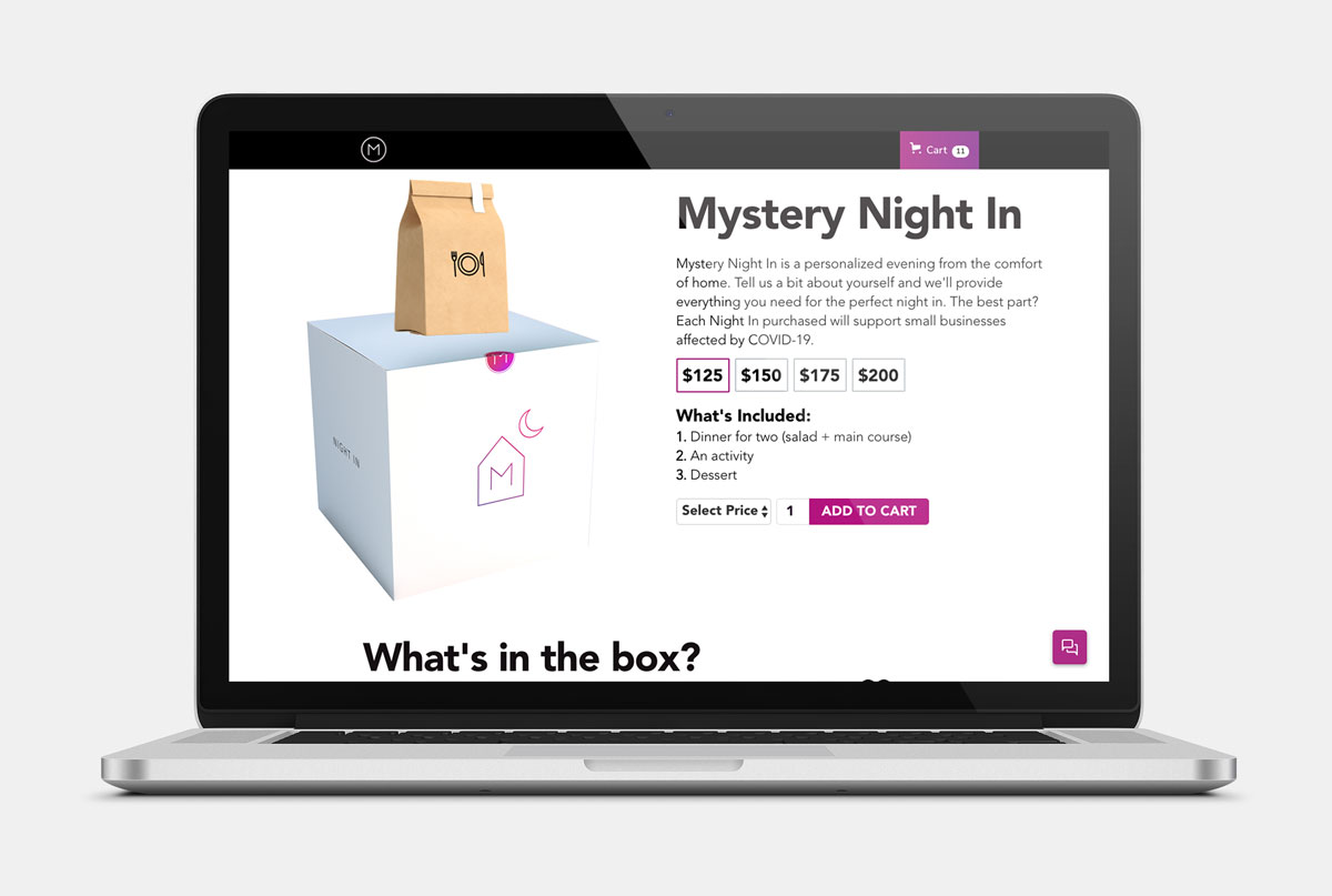 Boxes ranges from $125-$200 and provide a meal and activity for two sourced from local businesses.{ }(Image: Mystery)