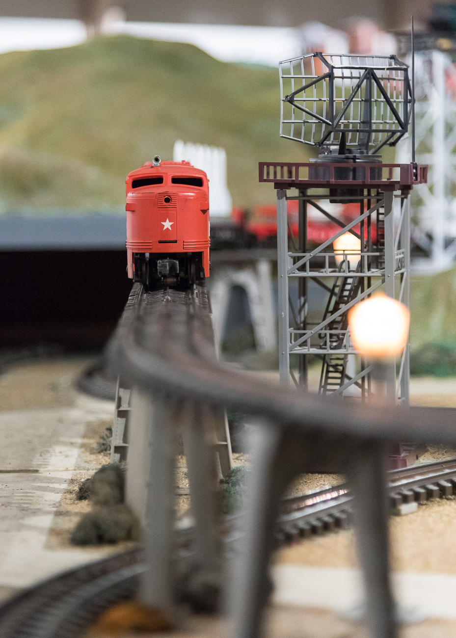 "Fun fact: the trains are authentic ""O"" gauge, which means a quarter inch equals a foot in real life. When the model trains move along tracks, they move at the actual speed they would if they were full sized. / Image: Phil Armstrong, Cincinnati Refined // Published: 11.15.18"