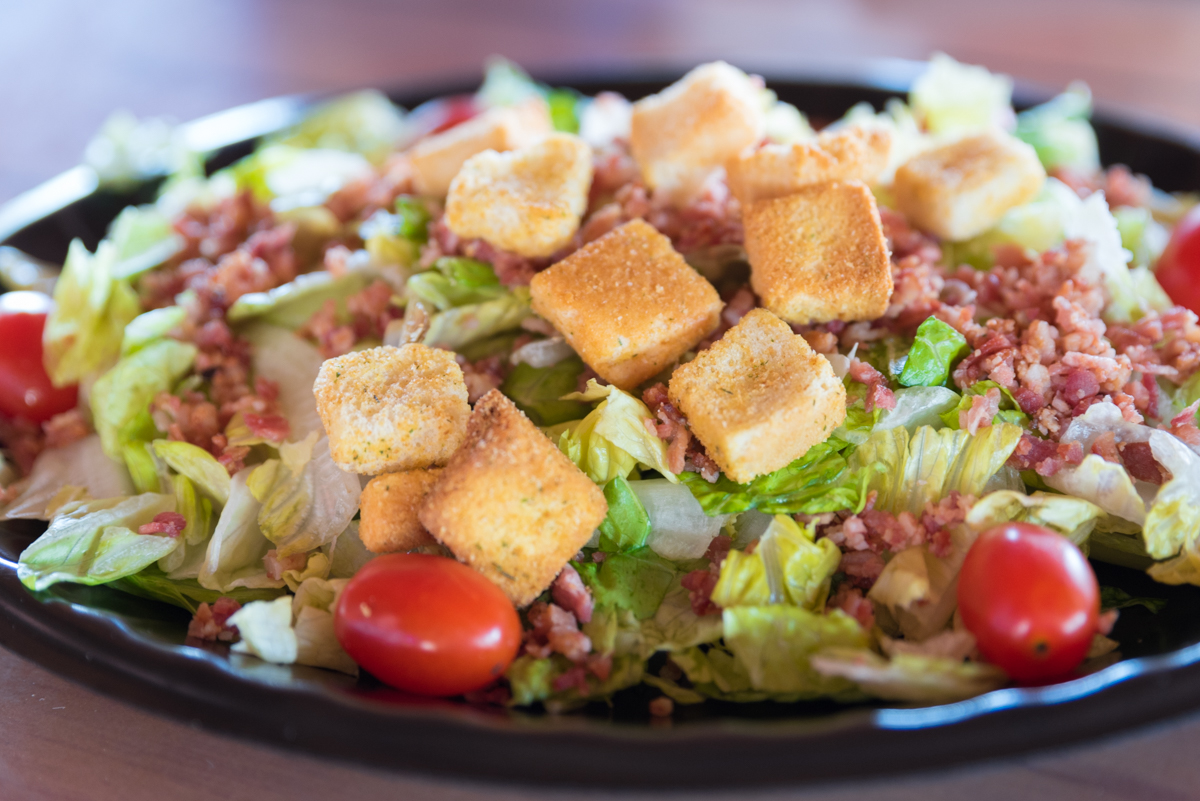 BLT Salad: Fresh lettuce blend with hickory smoked bacon, ripe tomatoes, and croutons, and drizzled with garlic-parmesan dressing / Image: Sherry Hopkins // Published: 8.19.17