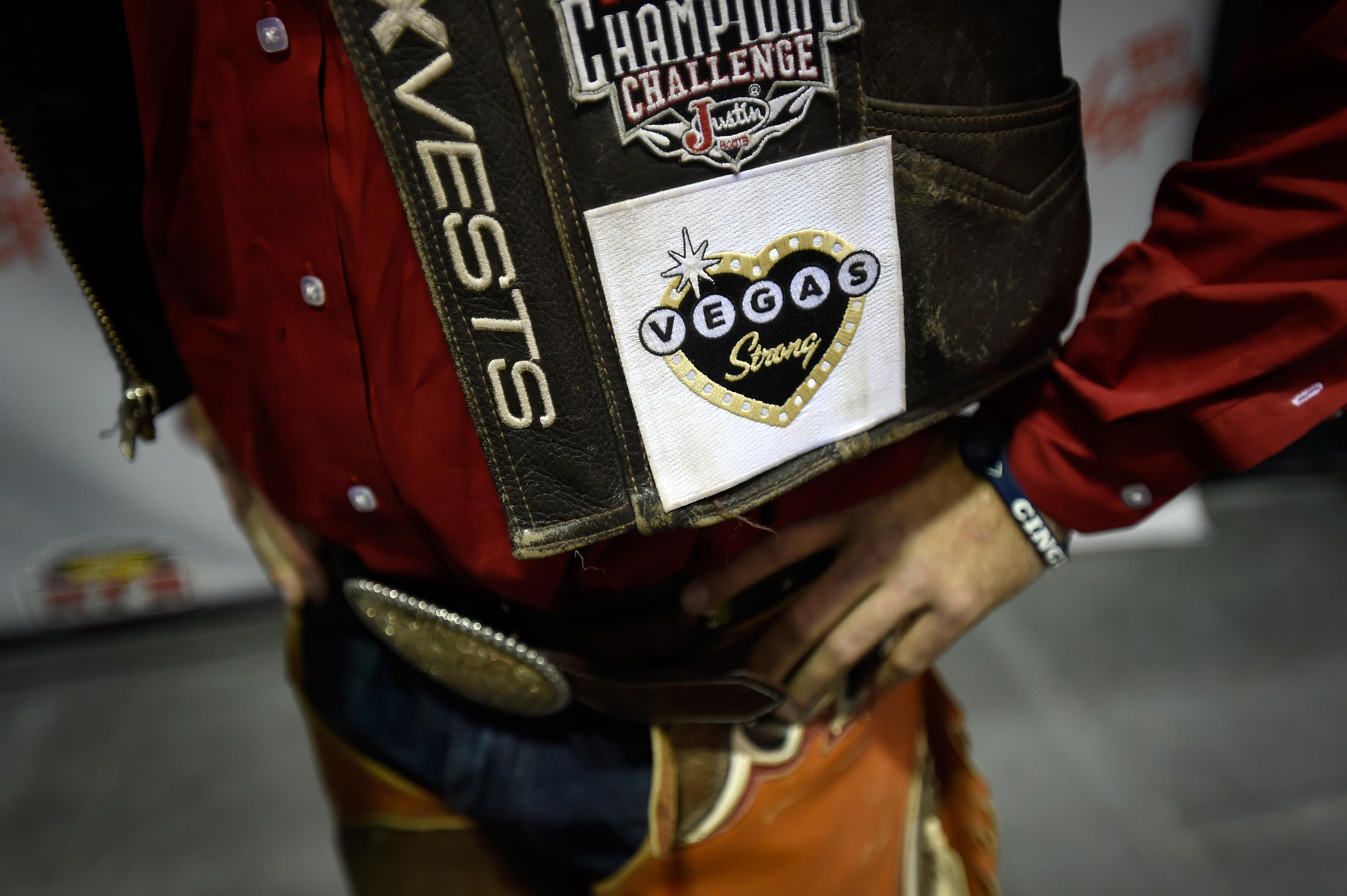 Brody Cress from Hillsdale, Wyoming, displays a Vegas Strong patch on his vest during the seventh go-round of the National Finals Rodeo Wednesday, Dec. 13, 2017, in Las Vegas. CREDIT: David Becker/Las Vegas News Bureau