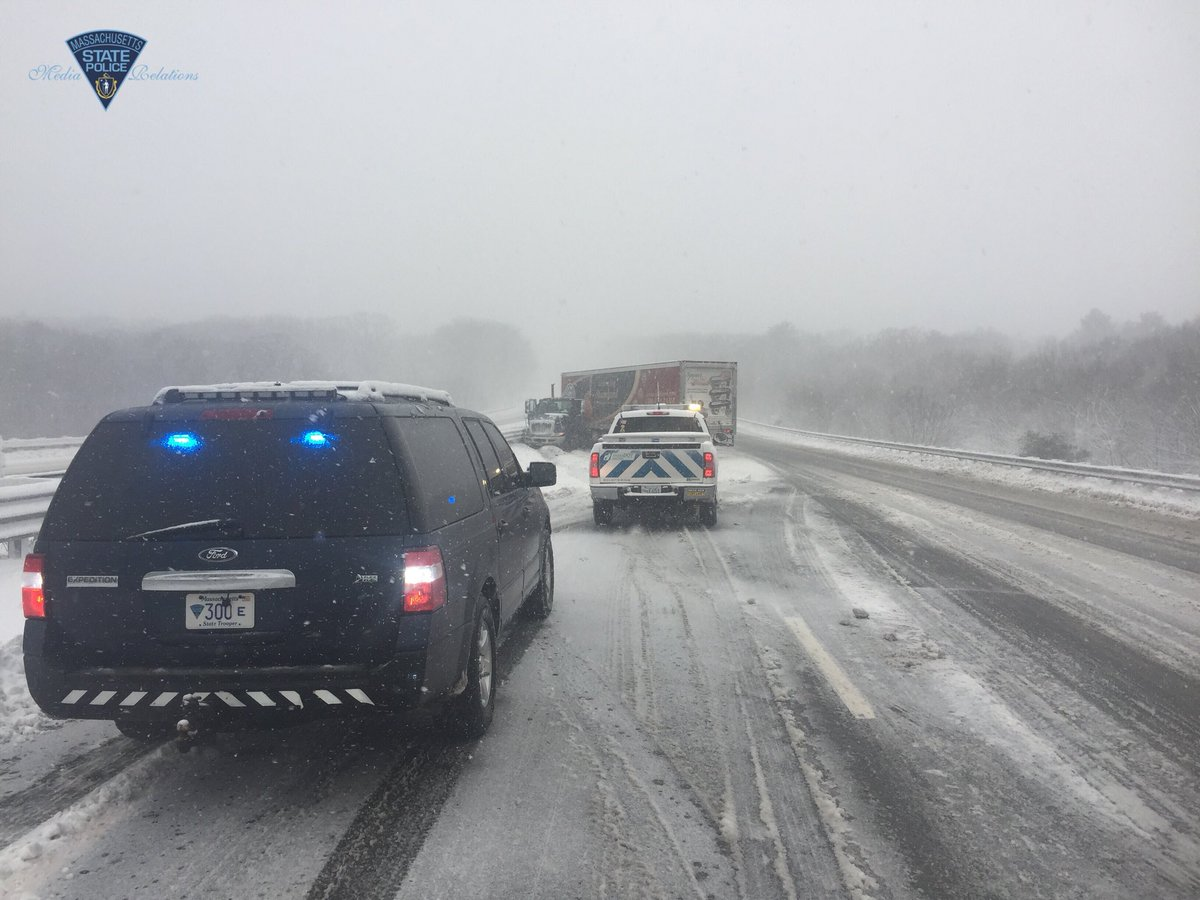Massachusetts State Police released this image of a tractor-trailer truck jackknifed on the Massachusetts Turnpike in Oxford, Tuesday, March 13, 2013.