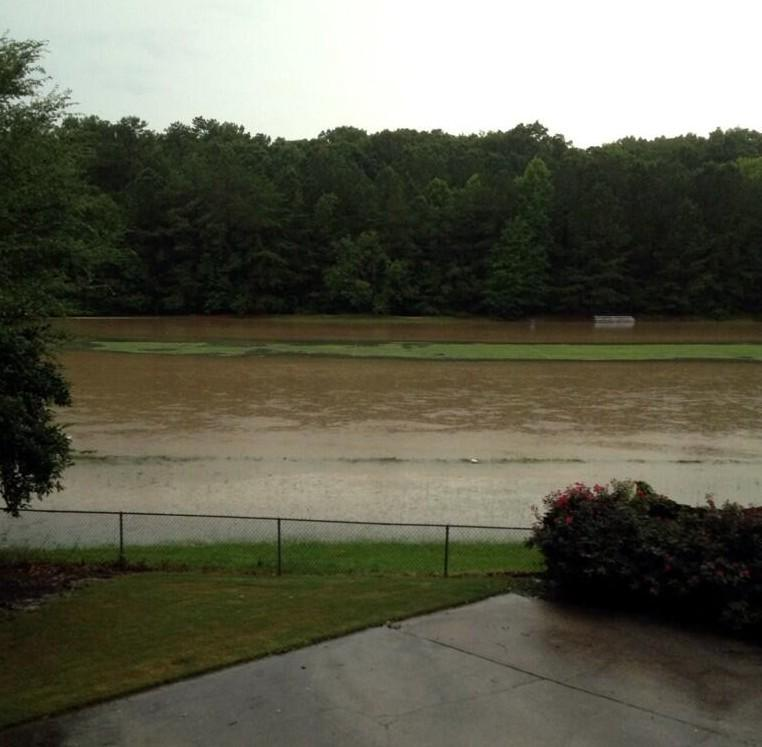 Briarwood High School practice field and track underwater.