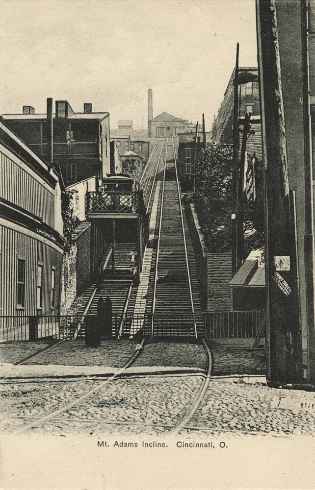 The incline was 945 feet in length and took 2 minutes and 20 seconds to reach the top from the bottom. / Image courtesy of the Public Library of Cincinnati and Hamilton County // Published: 1.2.19