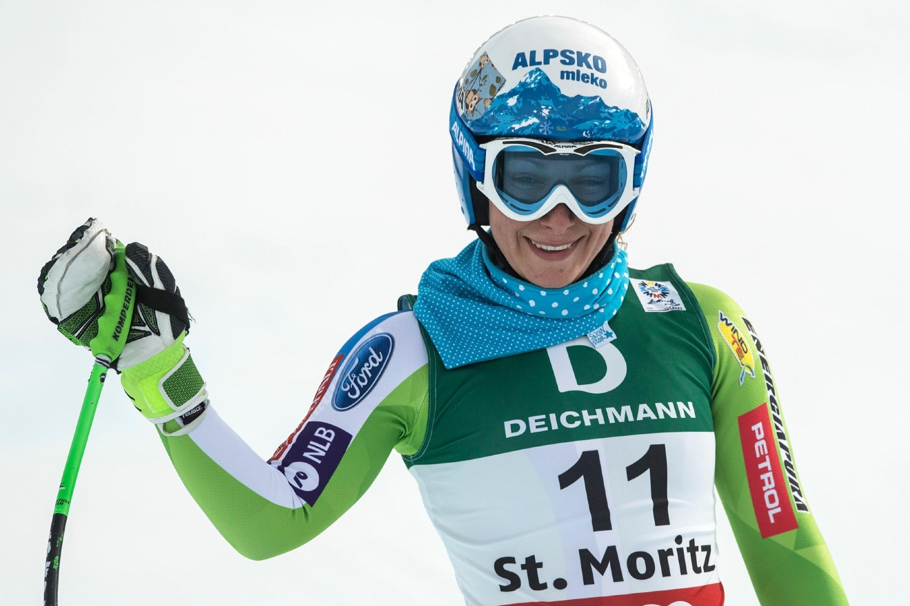 Ilka Stuhec of Slovenia reacts in the finish area during the women's downhill training at the 2017 Alpine Skiing World Championships in St. Moritz, Switzerland, Wednesday, Feb. 8, 2017. (Peter Schneider/Keystone via AP)