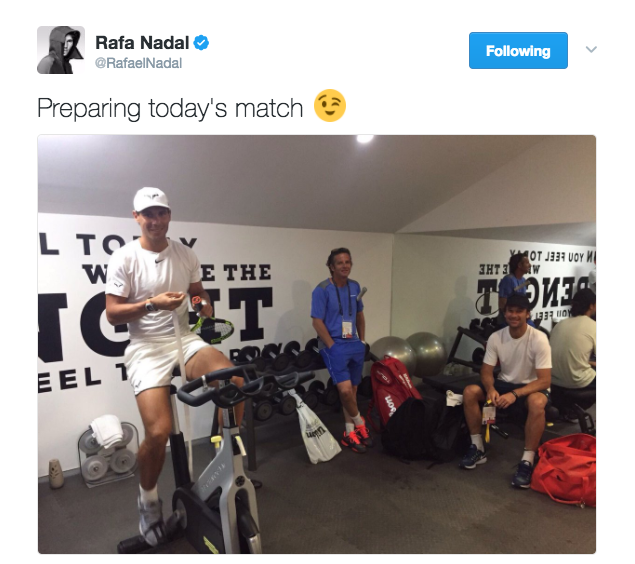 "Rafael Nadal posts a photo on Twitter on a spin bike and captions ""Preparing today's match"""