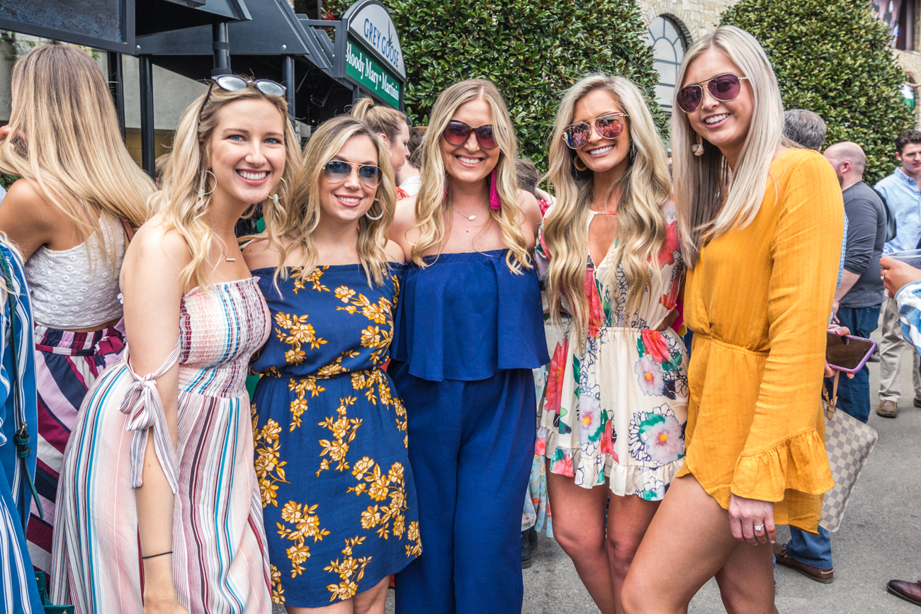 Attendees Lauren Woodward, Amber Stephenson, Aubrey Cage, Tritan Ventimidlia, Dallas Balendford show off their fashion during Keeneland's Spring Meet./ Image courtesy of Catherine Viox // Published:{ }4.12.19