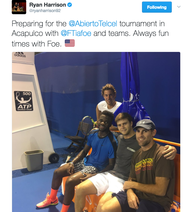 Ryan Harrison tweets a photo with Frances Tiafoe in Acapulco.