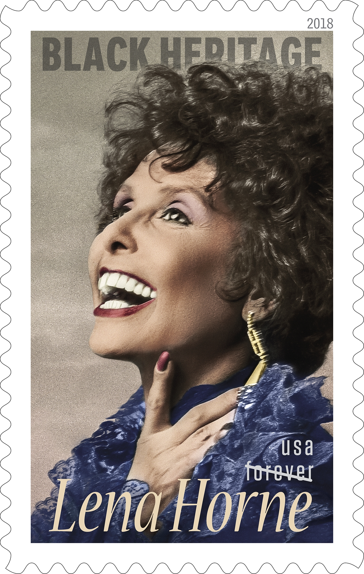 Lena Horne (Black Heritage series): The 41st issuance in the Black Heritage series honors the achievements of legendary performer and civil rights activist Lena Horne (1917–2010). Remembered as one of America's great interpreters of popular songs, Horne also was a trailblazer in Hollywood for women of color. She used her personal elegance, charisma and fame to become an important spokesperson for civil rights. (USPS)