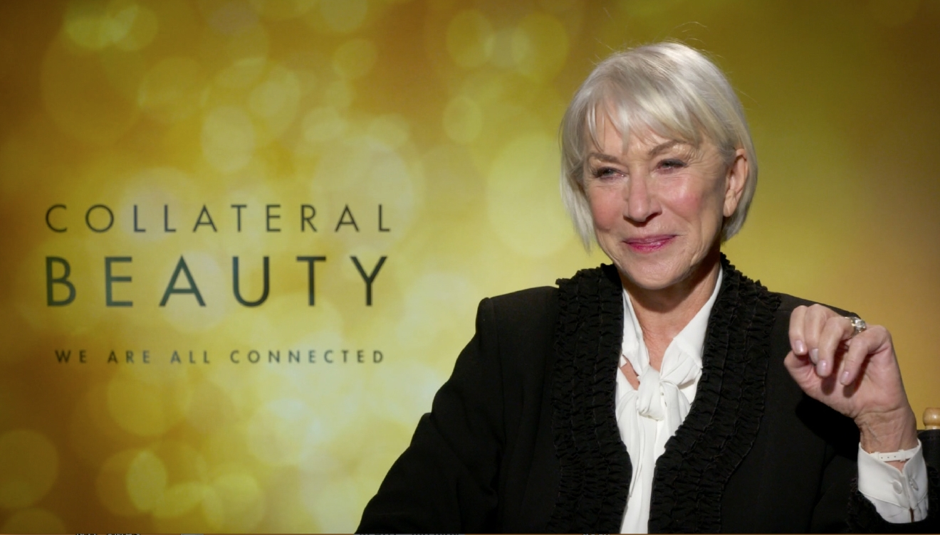 "Helen Mirren (Brigitte) from ""Collateral Beauty"" sits down with KOMO's Scott Carty. Courtesy Warner Bros. Pictures."