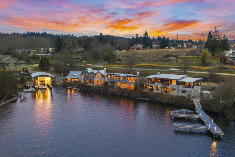 <p>Eagle Cove is a{&amp;nbsp;}literal compound with four homes and a boat house. There are 9 beds, 7.75 baths, 8,000 square feet, and sits on a lot size of 121,281. (Image: Andrew / Clarity NW)</p>