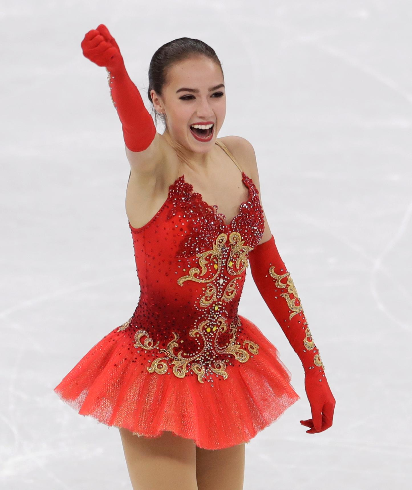 Alina Zagitova of the Olympic Athletes of Russia reacts following her performance during the women's free figure skating final in the Gangneung Ice Arena at the 2018 Winter Olympics in Gangneung, South Korea, Friday, Feb. 23, 2018. (AP Photo/Petr David Josek)