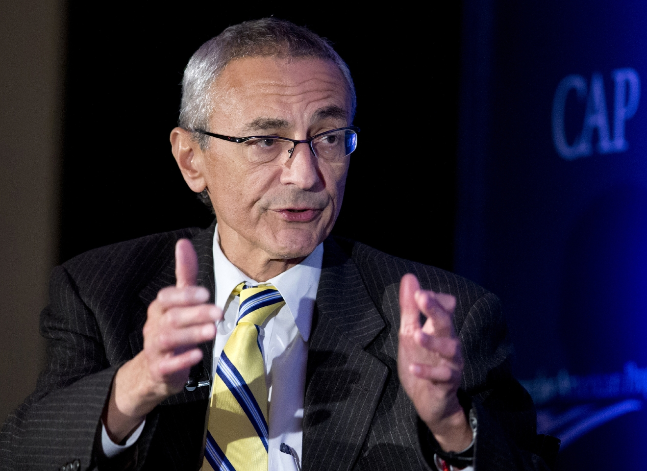 FILE - In this Nov. 19, 2014 file photo, Clinton campaign chairman John Podesta speaks in Washington. (AP Photo/Manuel Balce Ceneta, File)