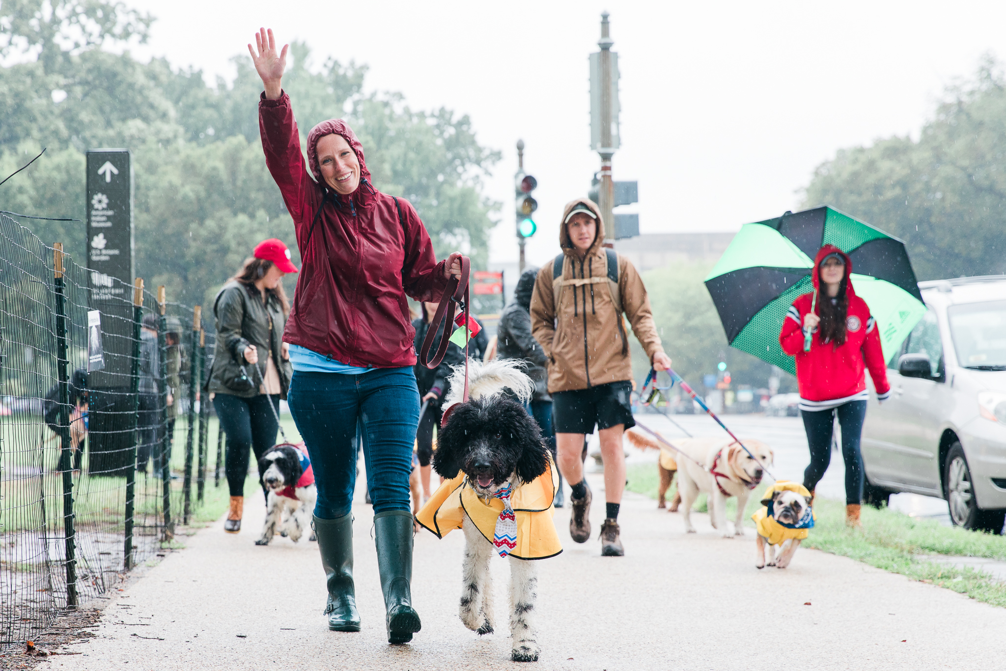 "Despite the never-ending rain, the second annual Bipawtisan March brought dogs from both sides of the aisle together to march from Capitol Hill to 'yappy hour' at Wunder Garten for beer and pup-friendly treats. The event, organized by a female-run non-profit WeTheDogsDC, had approximately 100 participants and raised $10,000 for more than 30 rescue organizations around town. According to the organizers, ""the mission of the Bipawtisan March is to show that no matter what side of the aisle you stand on, the love we have for our pets transcends all political agendas and is a cause that we can all support."" Attendees were encouraged to don costumes showing what they were marching for and to carry family-friendly signs. 100 percent of the event proceeds were donated to rescue organizations.{ }(Image: Aaron Wong Photography)"