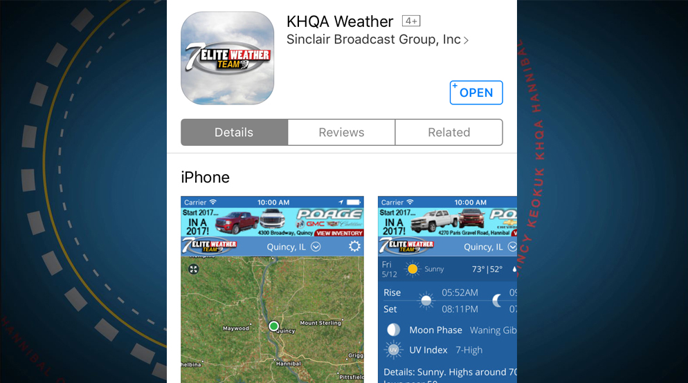 Download the free KHQA Mobile Weather App