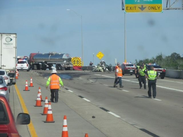Viewer submitted photos: A deadly crash has shut down two of three eastbound lanes of Interstate 10 at Wade Road in Baytown, where Texas Department of Transportation officials say there was a hazmat situation.