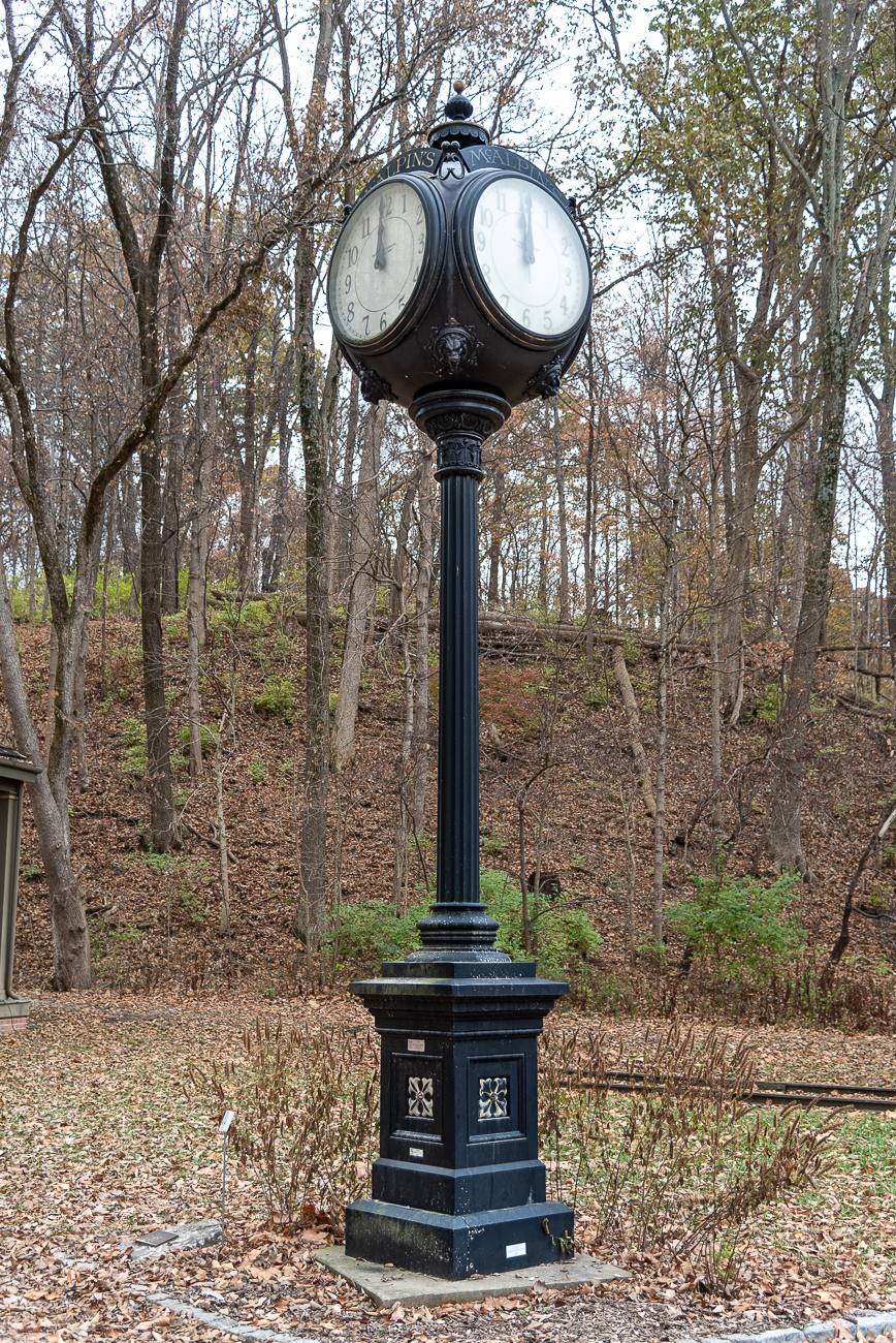 Cincinnatians used the clock as a landmark for nine decades when it was orignally on 4th Street. Instead of ending up in a landfill, the clock is still ticking (not really) in Sharon Woods.{ }/ Image: Phil Armstrong, Cincinnati Refined // Published: 12.5.19