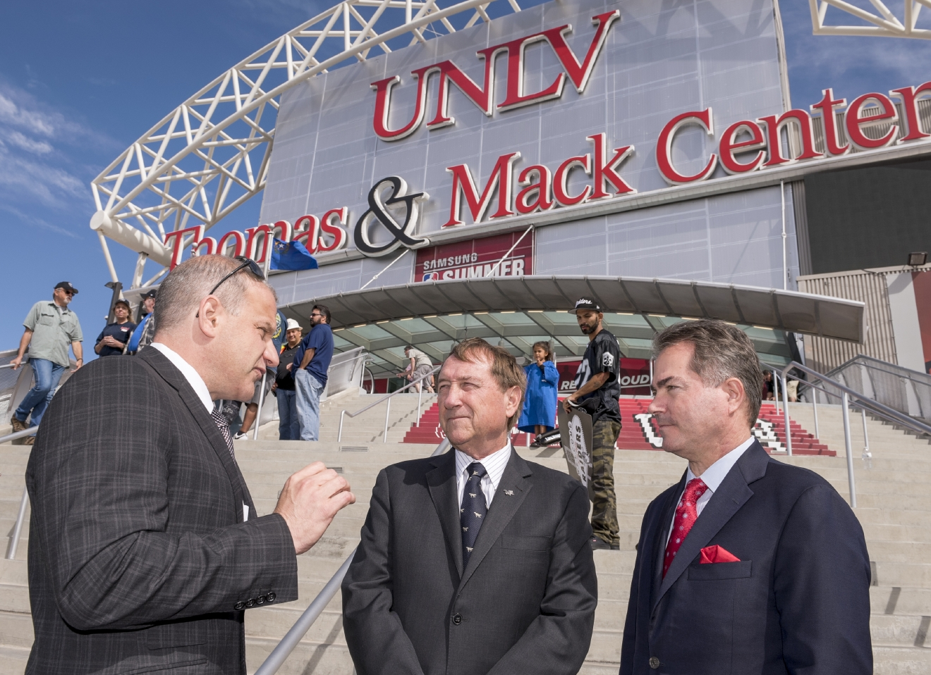 Oakland Raiders President Marc Badain, from left, chats with LVCVA President and CEO Rossi Ralenkotter and UNLV President Len Jessup following a Win Win Nevada Coalition announcement of support for immediate legislative approval of the Las Vegas Convention Center expansion and a new football stadium, both unanimously approved by the Governor's Southern Nevada Tourism Infrastructure Committee, at the Thomas & Mack arena at UNLV on Monday, Oct. 3. 2016. (Mark Damon/Las Vegas News Bureau)