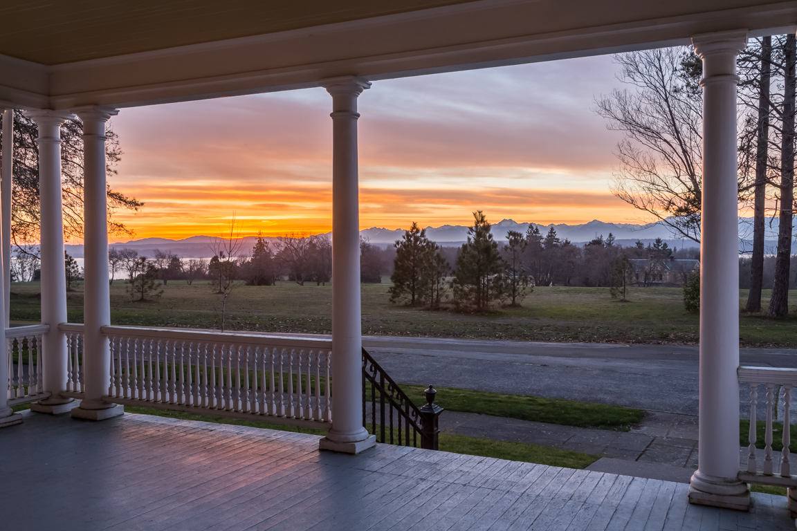 The homes on Officer's Row feature generous front porches where residents can sit back and soak in views of Puget Sound, Bainbridge Island, and the Cascade and Olympic mountains.