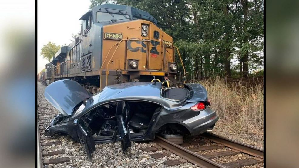 Surveillance video captures CSX train collision with a car in Rosedale