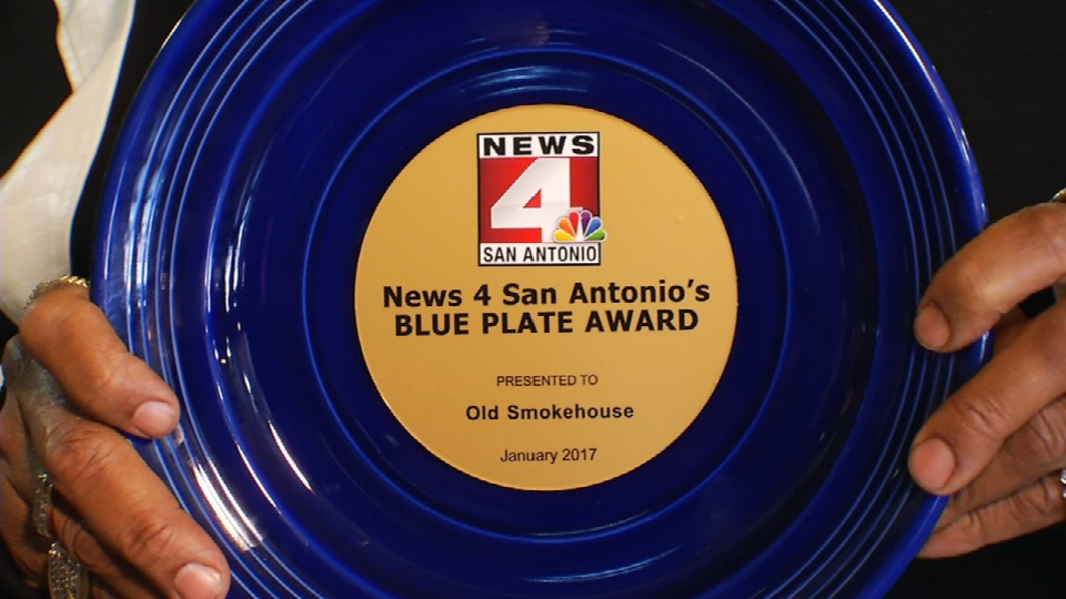 This week's Blue Plate Award goes to Old Smokehouse on 5145 Fredericksburg Road on the Northwest Side. (News 4 San Antonio Photo)