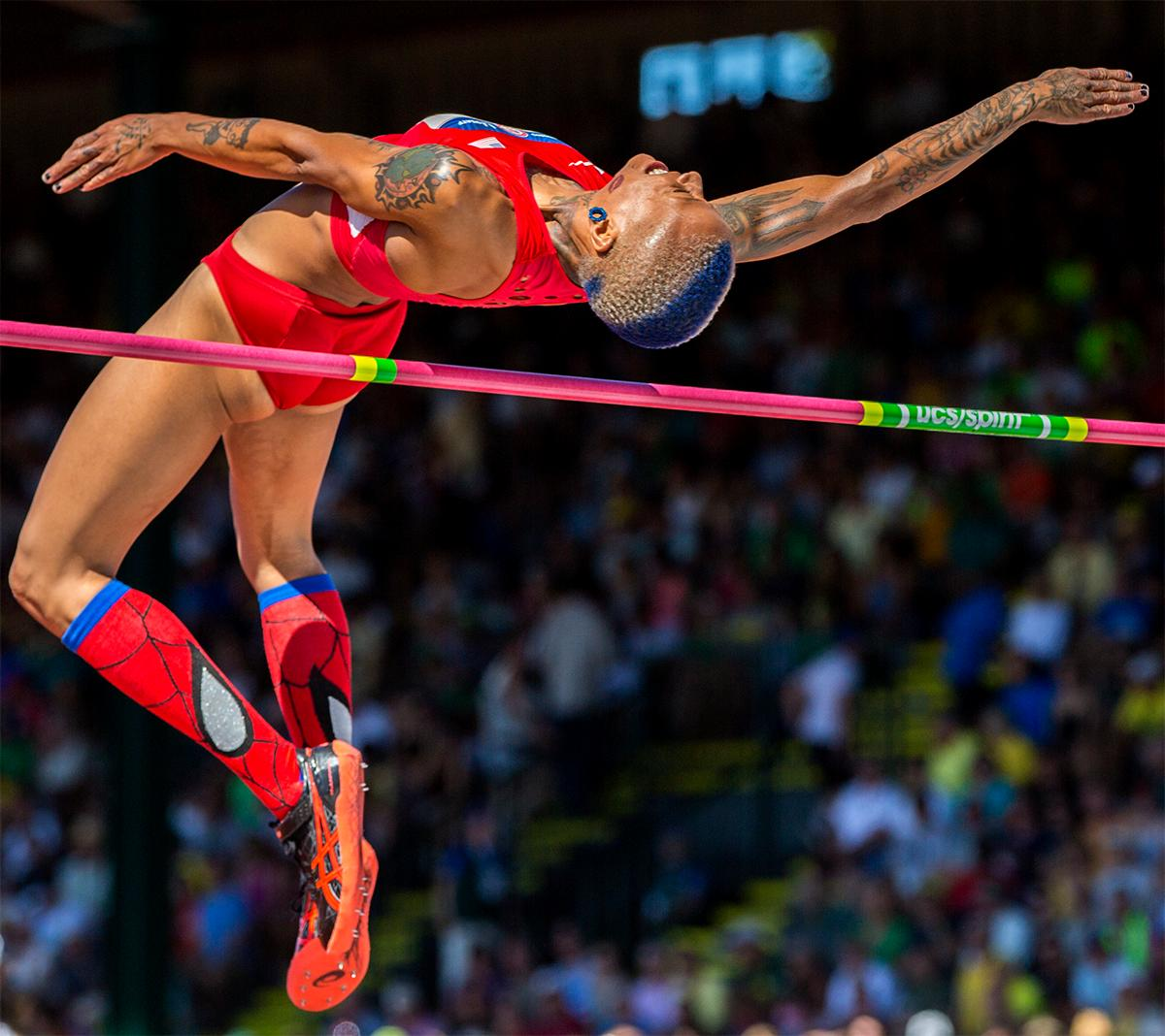 It might have been the hair or it might have been the spider man socks. Whatever it was, Inika McPherson will soon be headed for Rio after placing third in the high jump with a final height of 1.93 meters. Photo by August Frank, Oregon News Lab