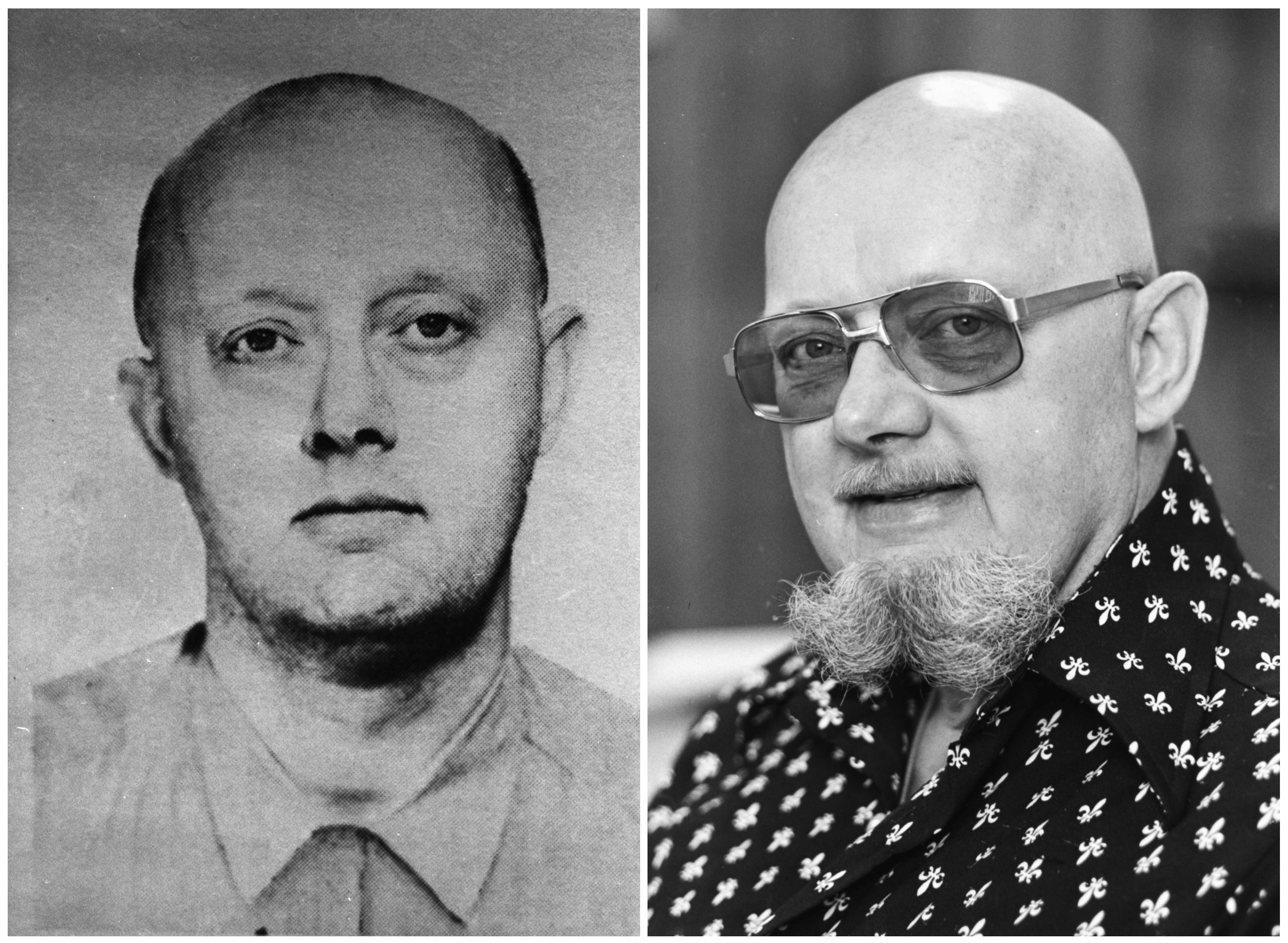 FILE - This photo combination shows an image from a 1960s FBI wanted poster of Benjamin Hoskins Paddock, left, and a 1977 file photo of Paddock, who went by the name Bruce Ericksen, when he was on the lam in Lane County, Oregon, following his escape from a federal prison in Texas, where he had been serving time for a string of bank robberies. Paddock's son, Stephen Paddock, was the gunman who opened fire on a country music festival in Las Vegas on Sunday, Oct. 1, 2017, killing dozens and wounding hundreds. (FBI and Wayne Eastburn/The Register-Guard via AP, File)