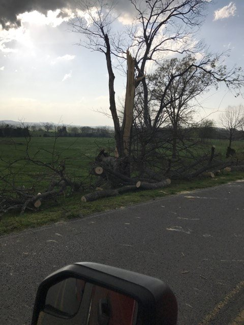 A tornado touched down at Rising Star Ranch in Shelbyville on Wednesday. (Courtesy Rising Star Ranch/Davis Williams)