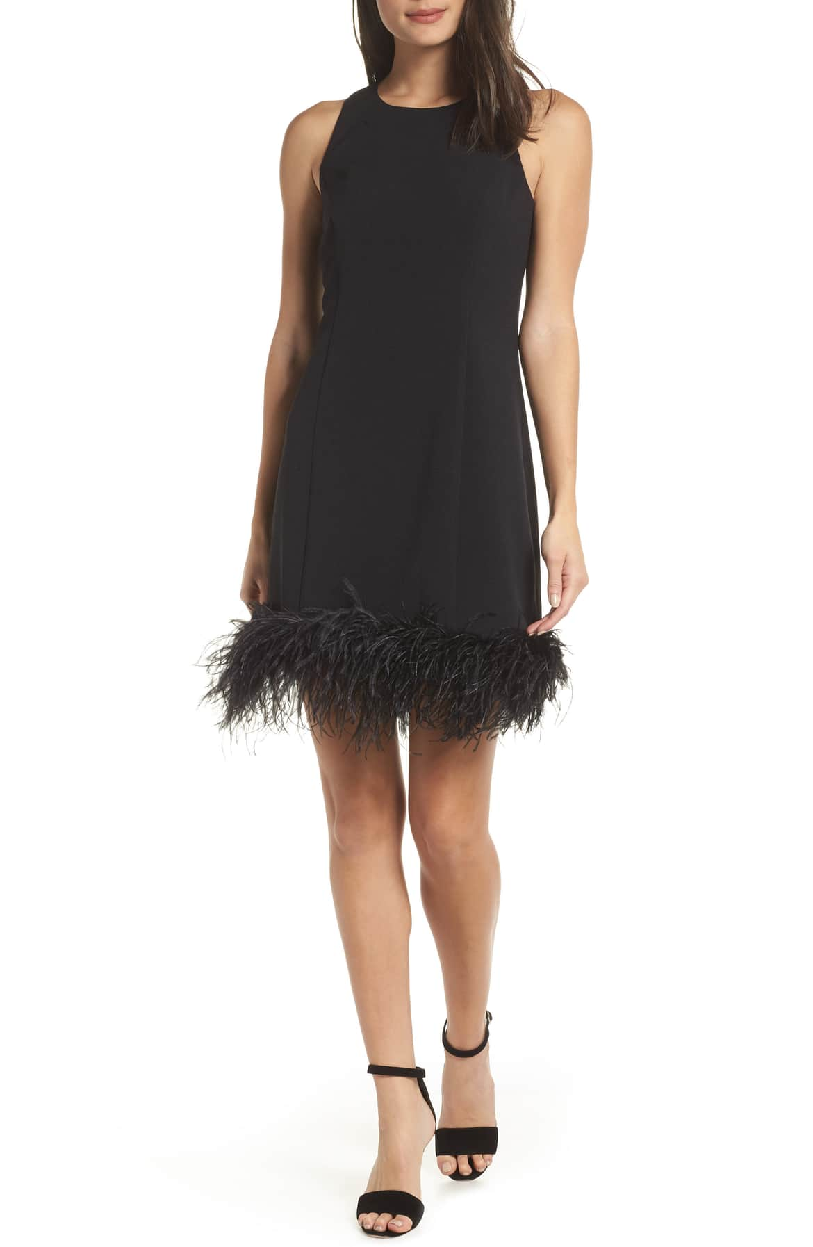 <p>Don't disappoint your party people—arrive in your finest feathers wearing this statement sheath with a hem of ostrich plumes. $159. (Image: Nordstrom){&nbsp;}</p><p></p>