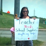 Panhandling teacher donating to teachers at Foyil schools