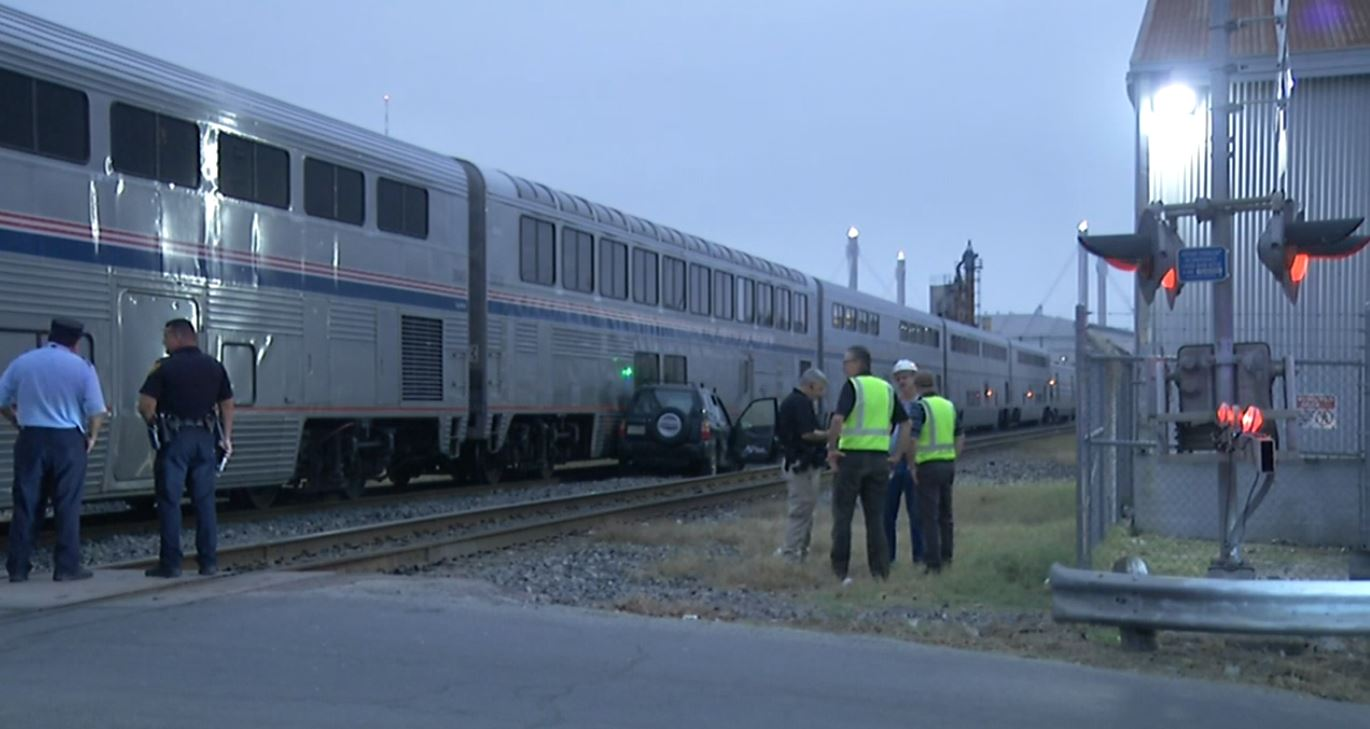 Driver who tried to beat Amtrak train dies in collision on Tuesday, December 5, 2017. (Photo: Sinclair Broadcast Group)