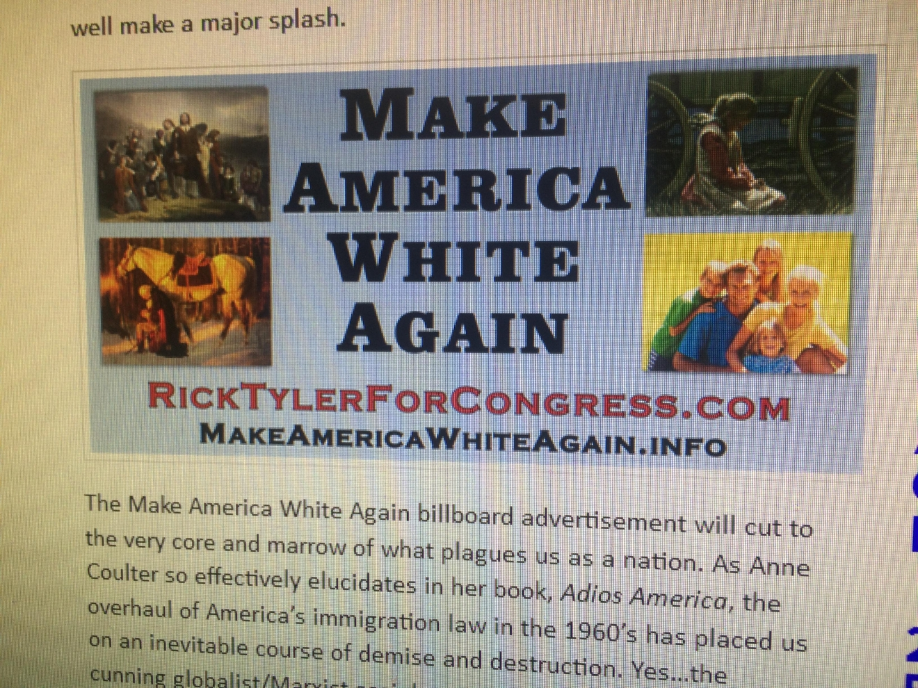 Tyler reportedly took the sign down, but the image of the billboard is still on his website, as of Wednesday, June 22, 2016. (Screen grab from RickTylerForCongress.com)