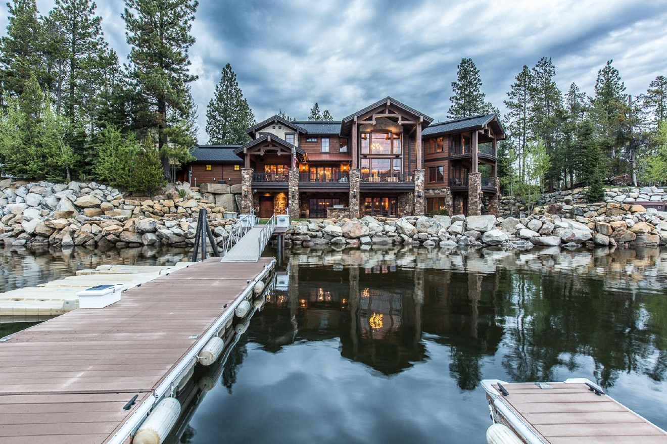 Masterful design & modern luxury are uniquely embodied in this 6 bd 6 ba lakefront home. Unobstructed views of Lake Cascade & Tamarack Resort. 7,463 Sf occupy the main house, w/an additional 927 sf of living space in the detached guest house. The 2 combined lots provide .59 acres of serenity w/approx 200 ft of lake frontage & a private dock. 4+ car/boat storage, as well as covered valet entrance.  Information: 208-859-6517.