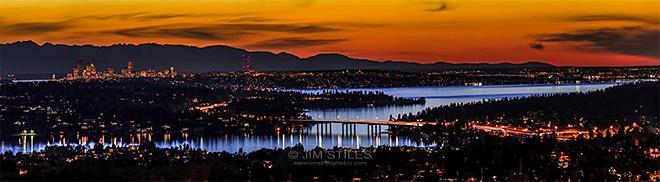 Sunset over Lake Washington, Seattle and the Olympic Mountains (Photo: Jim Stiles)
