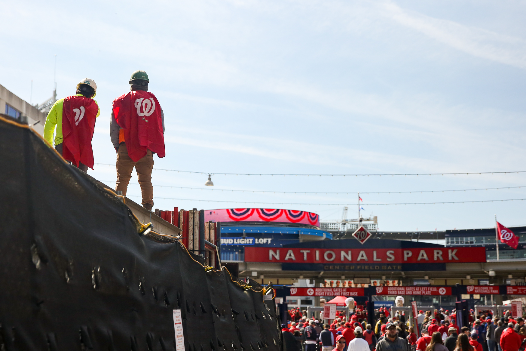The Washington Nationals played against the New York Mets at home for the opening day of the 2019 baseball season and thousands of fans showed up to cheer them on. Adults and kids alike wore baseball gloves in the hopes of catching a stray ball and some fans got especially creative with their Nats-themed looks. (Amanda Andrade-Rhoades/DC Refined)