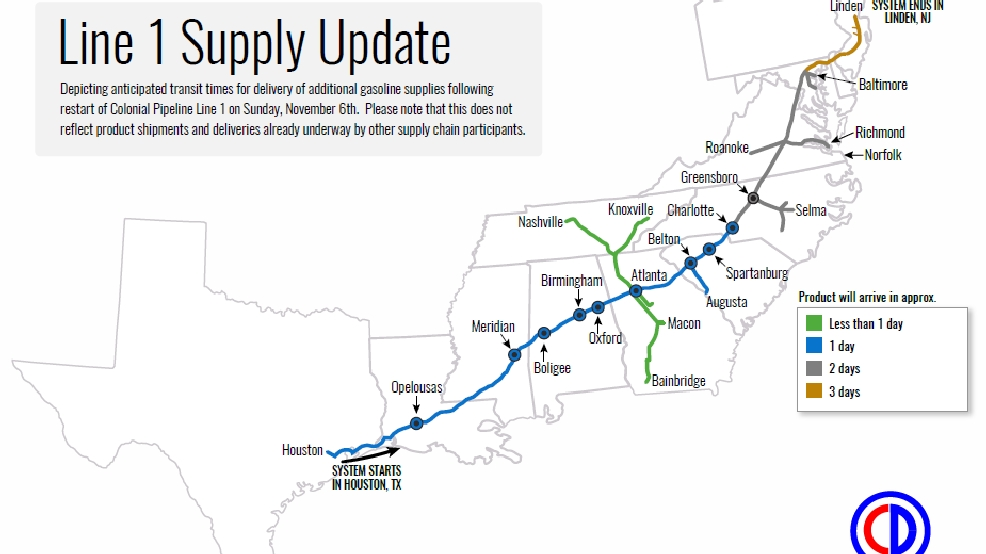 colonial pipeline reopens ruptured pipeline wtvc