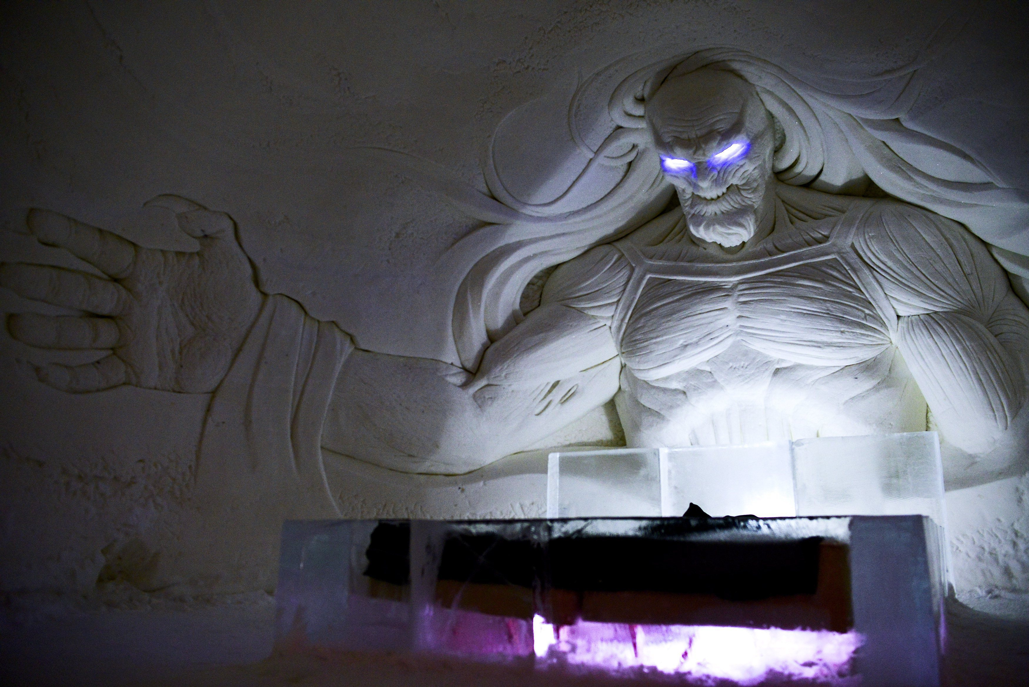 "A large decoration is seen inside a  Game of Thrones-themed ice hotel in Kittila  Finnish Lapland on Sunday Jan. 14, 2018. A ""Game of Thrones""-themed ice hotel complete with a bar and a chapel for weddings has opened in northern Finland in a joint effort by a local hotel chain and the U.S. producers of the hit TV series. Lapland Hotels said Friday they chose ""Game of Thrones"" to be the theme for this season's Snow Village, an annual ice-and-snow construction project covering 20,000 square meters (24,000 sq. yards) in Kittila, 150 kilometers (93 miles) above the Arctic Circle.(Aku H'yrynen/Lehtikuva via AP)"