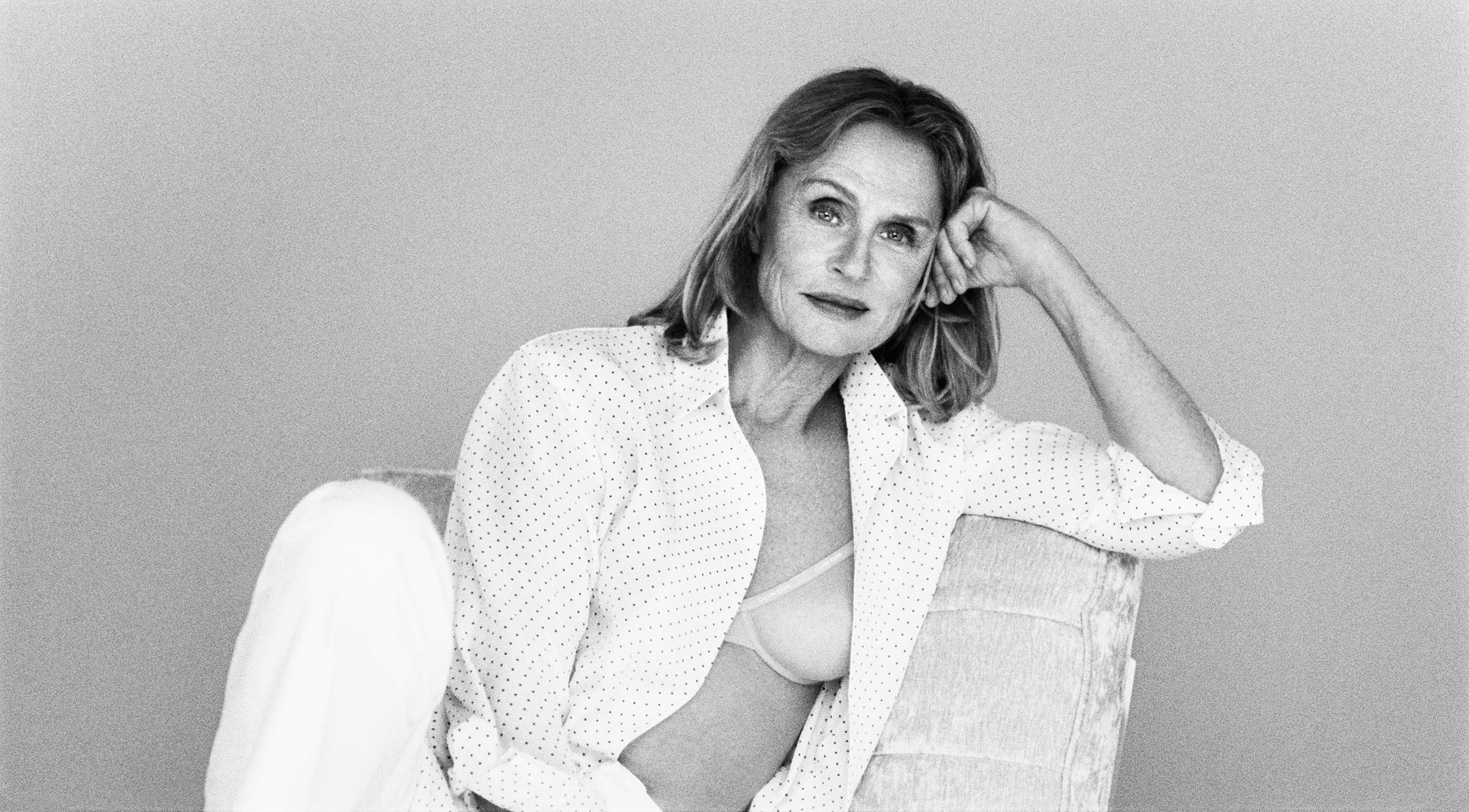 ACTRESS LAUREN HUTTON WEARS CALVIN KLEIN UNDERWEAR: SHEER MARQUISETTE DEMI LIGHTLY LINED BRA. (Calvin Klein)