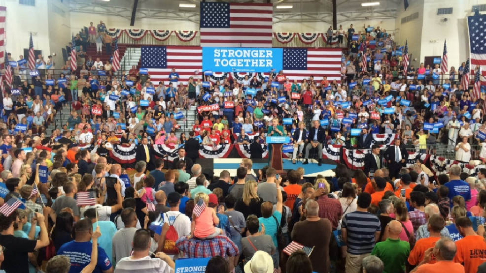 Hillary Clinton holding rally at Abraham Lincoln High School in Des ...