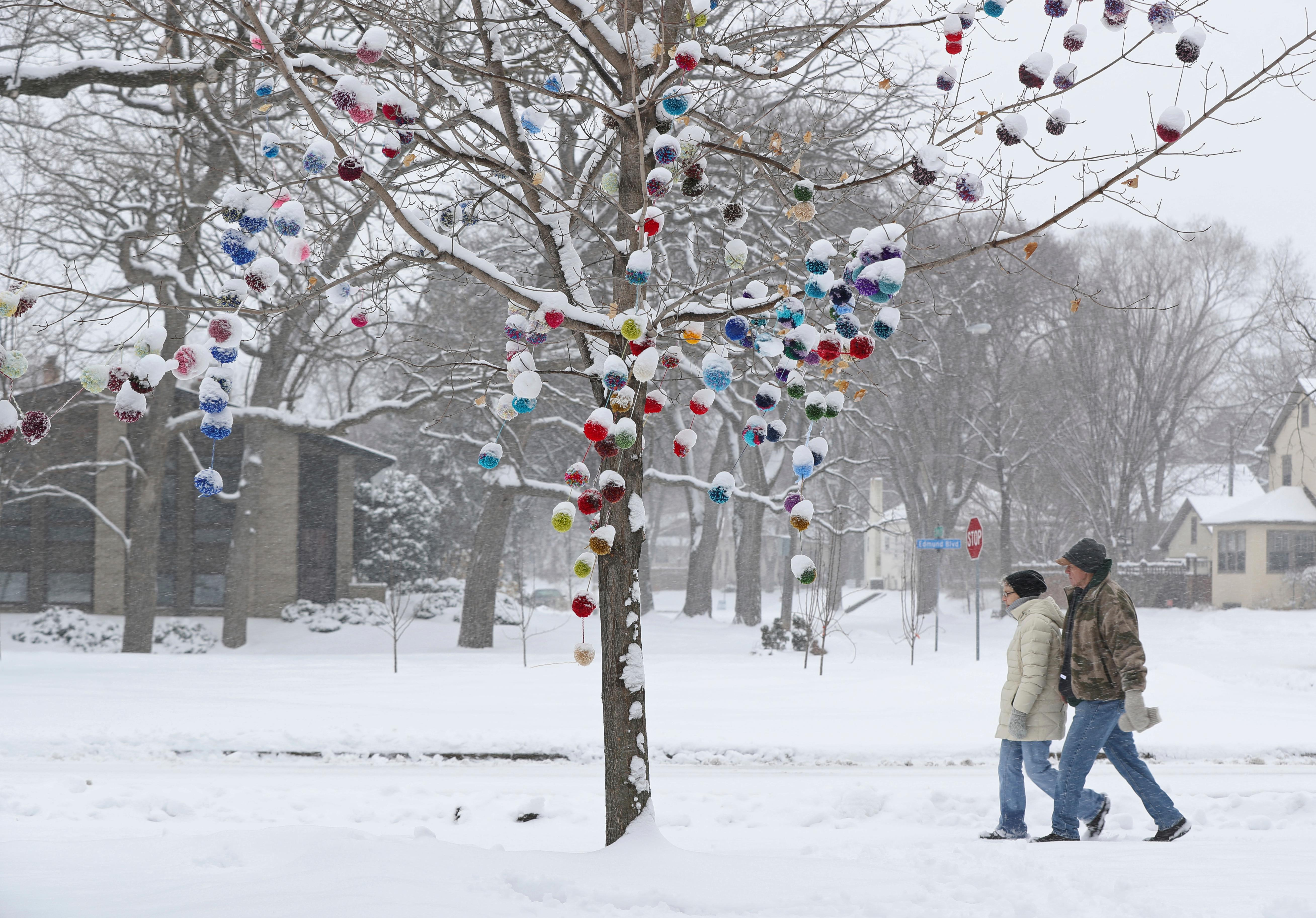 Snow covers the tops of knitted yarn pom-poms decorating a tree along West River Road in Minneapolis as a couple walked by on a snowy Tuesday, April 3, 2018. (Shari L. Gross/Star Tribune via AP)