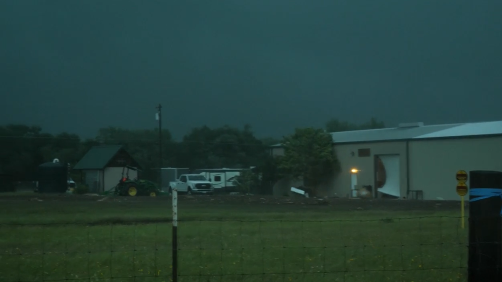 Inside the Storm: Weak tornado with strong winds causes damage near Austin, Texas