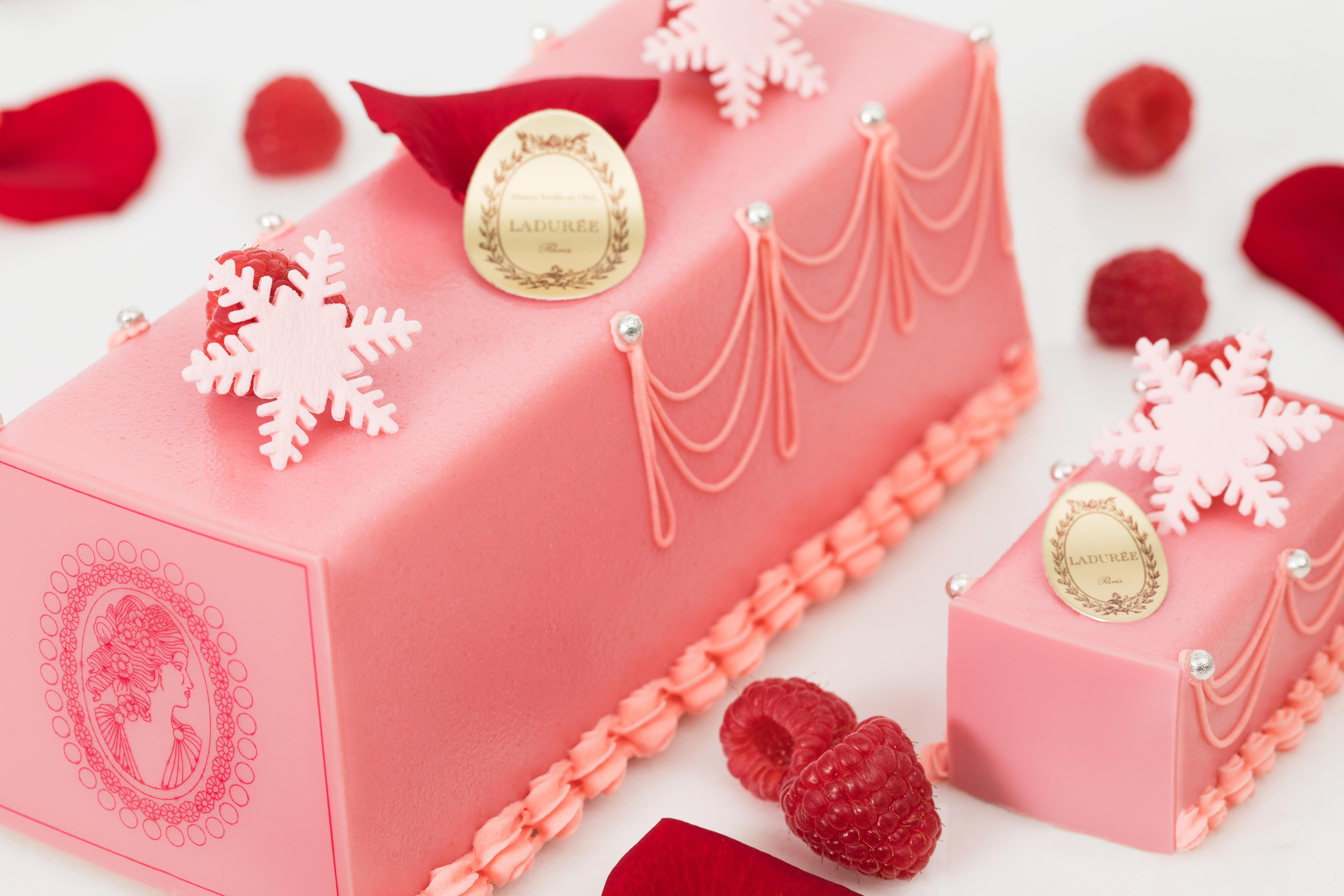 Four beautifully crafted Yule logs vie for your affections: hazelnut, rose-raspberry, chocolate, and almond. (Image: Courtesy Laduree)