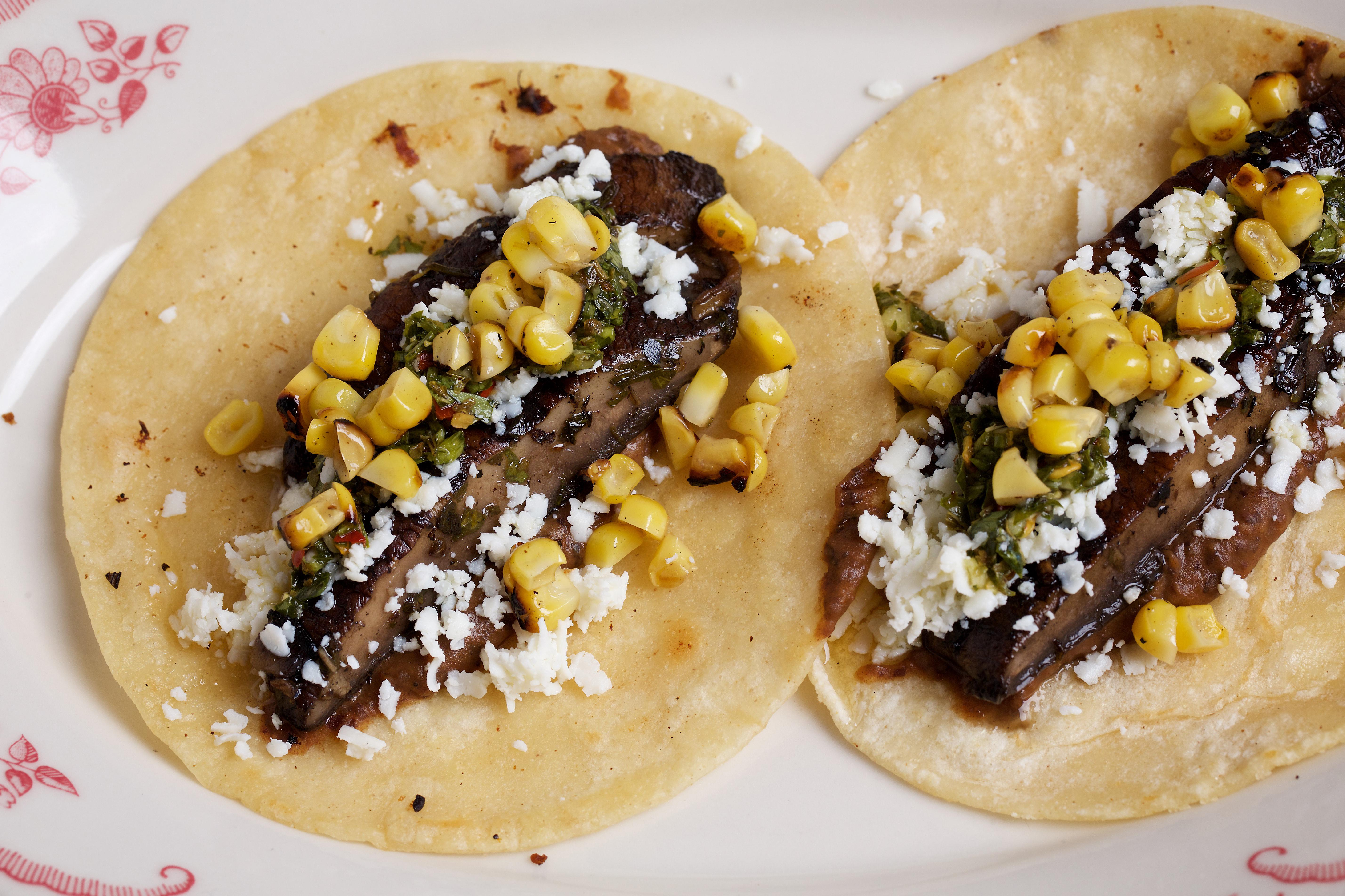 Served on a soft white tortilla, portabella mushrooms are complemented by smoky black bean spread, charred corn, cotija cheese, fresh cilantro and another smack of chimichurri sauce.(Image: Courtesy Deb Lindsey)